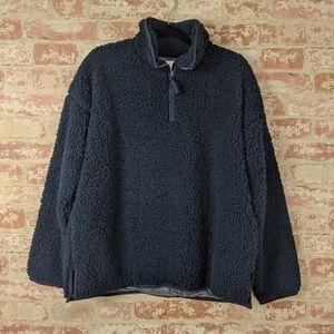 Thread & Supply Navy Blue Teddy Half Zip Sweater